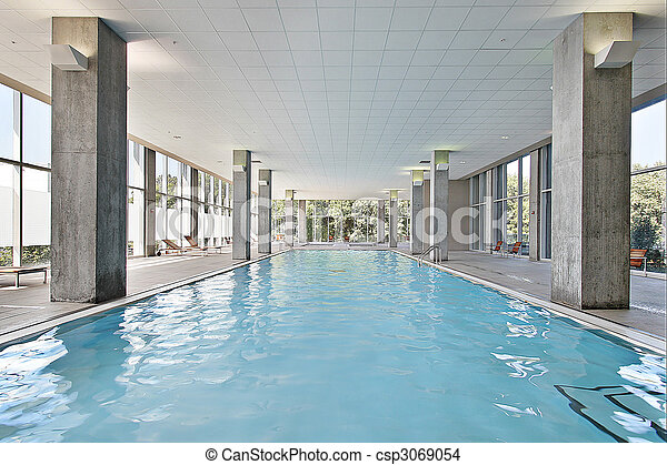 Stock photo of indoor swimming pool indoor swiming pool for Building an indoor pool at home