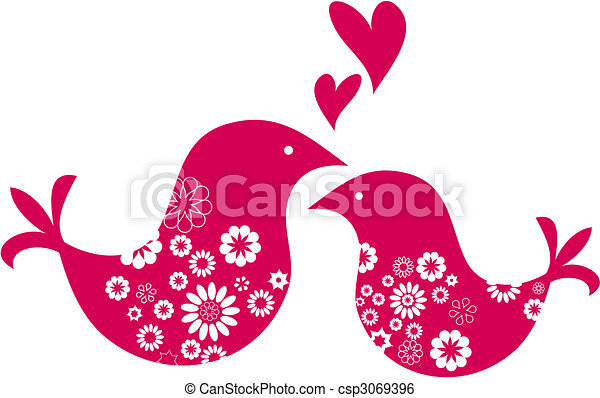 decorative greeting card with two  birds Valentines day - csp3069396