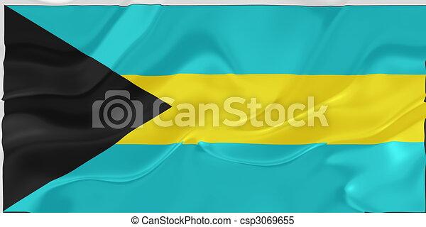 Flag of Bahamas wavy - csp3069655