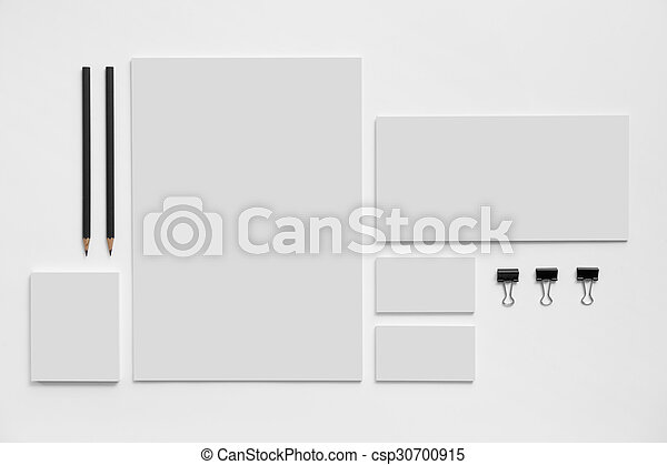 Blank branding mockup with gray business cards on white