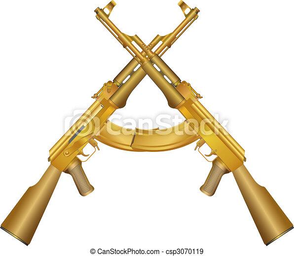 Two gold AK 47 - csp3070119