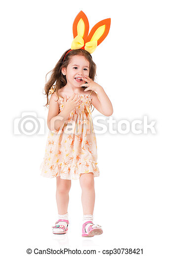 Girl with bunny ears  - csp30738421