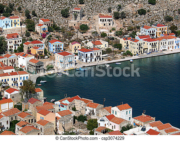 Rooftops around the harbour, Greece - csp3074229