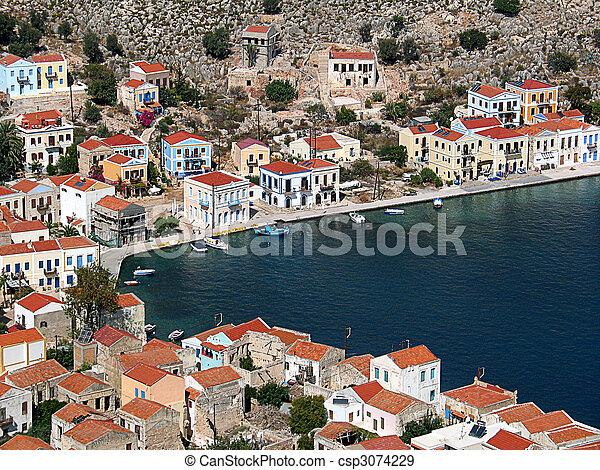 Rooftops around the harbour, Greece - csp3074229