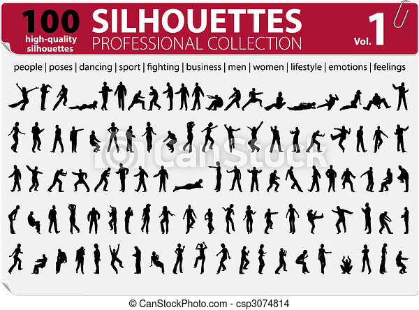 100 Silhouettes Professional Collection Vol. 1 - csp3074814