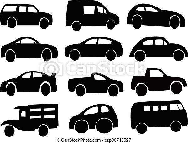 Clip Art Vector of Car silhouette vector. - Car silhouette. Design ...
