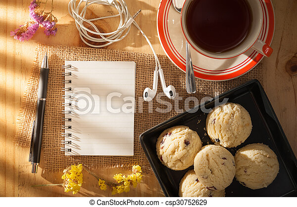 Notepad on wood table