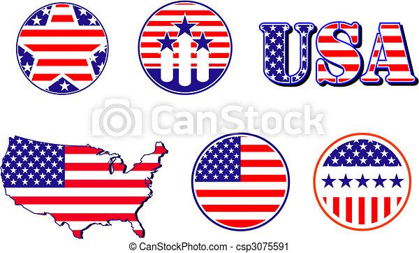 Vector Clip Art of American patriotic symbols set for ...
