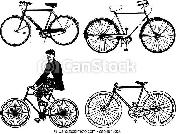 自転車の 古い自転車 : Old-Fashioned Bike Silhouette
