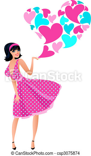 Cute girl in a pink dress - csp3075874