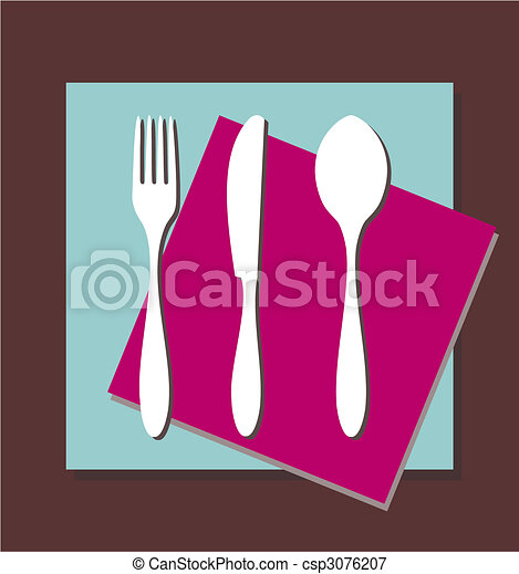 Fork, knife and spoon tablecloth - csp3076207