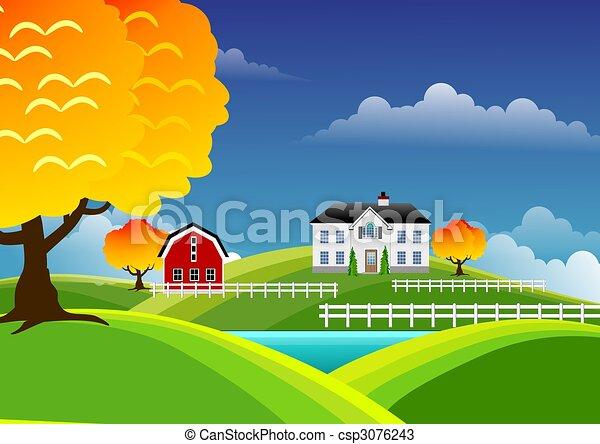 Scenic farm landscape - csp3076243