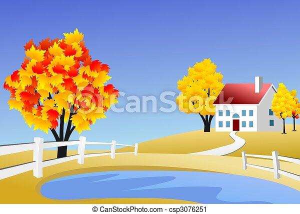 Scenic farm landscape - csp3076251