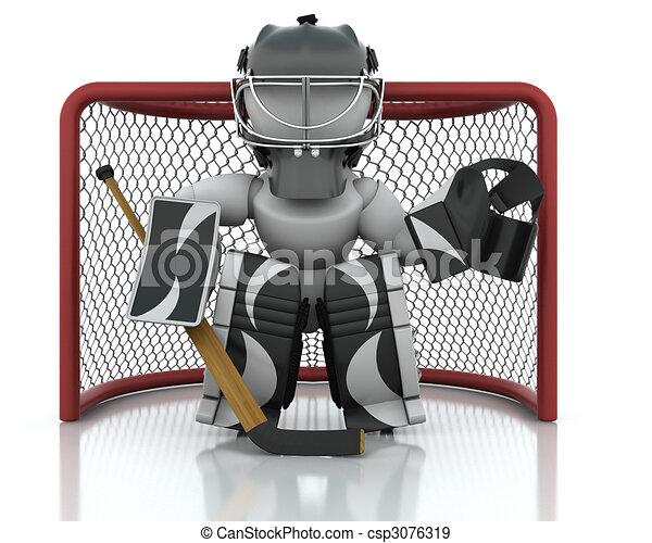 Illustration de hockey glace gardien de but 3d render - Dessin gardien de but ...
