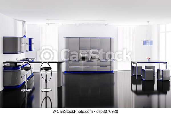 Stock illustratie van interieur van moderne keuken met for Keuken plannen in 3d