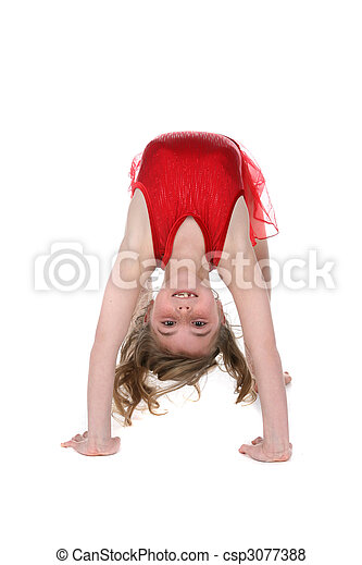young girl bent over backwards in gymnast or dance position - csp3077388