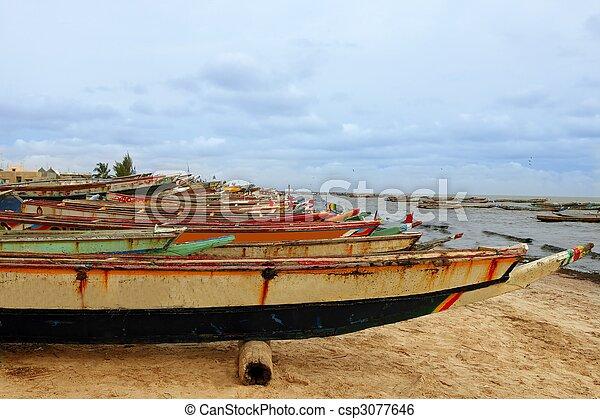 Africa Senegal Atlantic coast fishermen boats