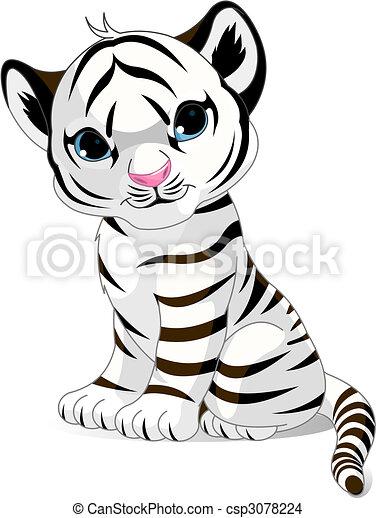 Cute white tiger cub - csp3078224