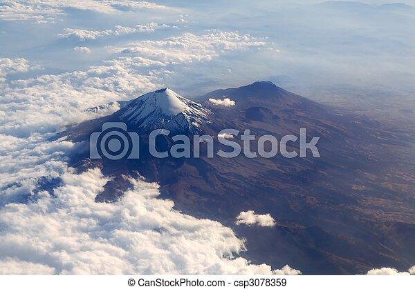 Popocatepetl volcano Mexico DF city aerial view - csp3078359