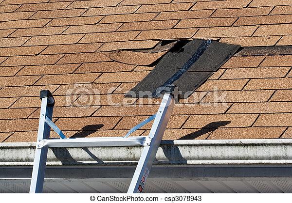 Damaged Roof Shingles Repair - csp3078943