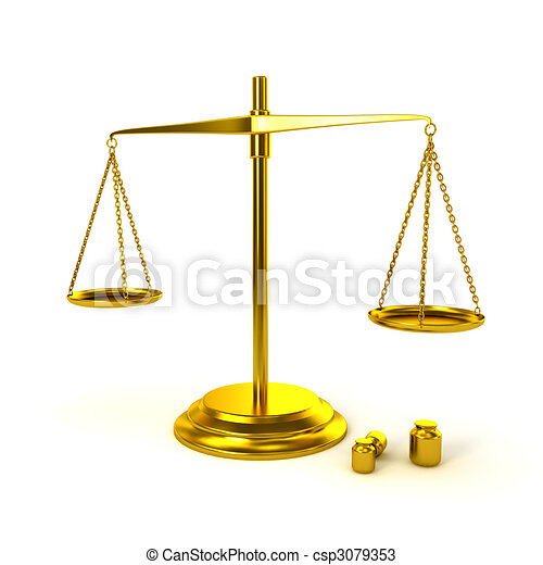 Pharmaceutical gold scale on white background - csp3079353