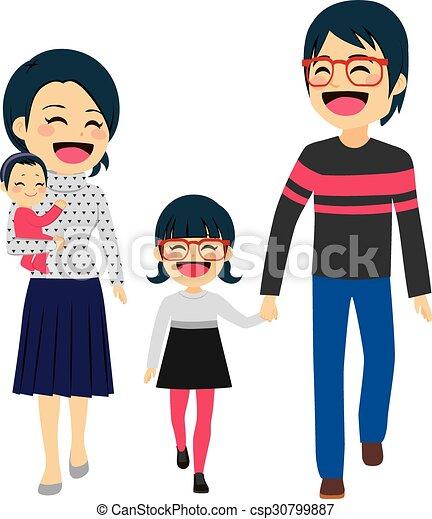 Asian Happy Family Walking - csp30799887