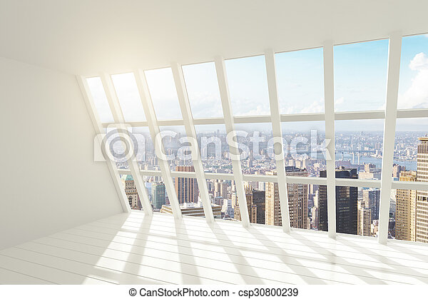 White loft interior with sunlight and city view