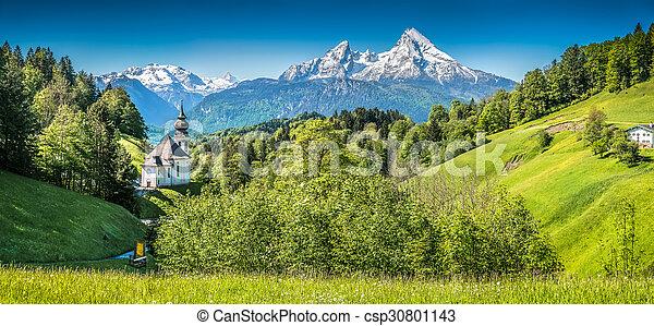 Idyllic mountain landscape in the Bavarian Alps, Berchtesgadener Land, Germany - csp30801143