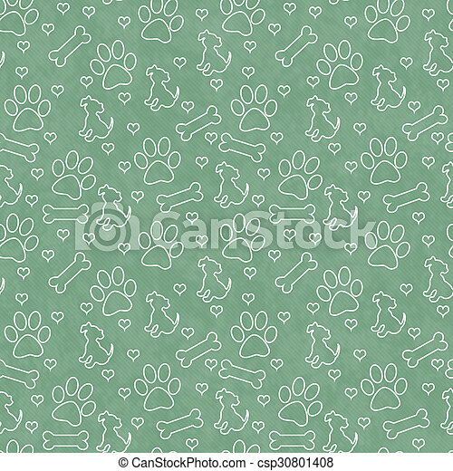 Green and White Doggy Tile Pattern Repeat Background