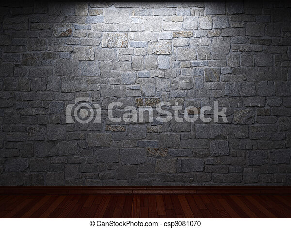 illuminated stone wall - csp3081070
