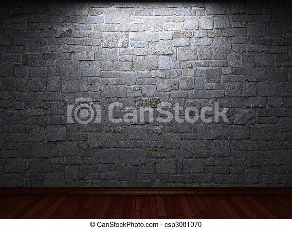 illuminated stone wall - csp3081070
