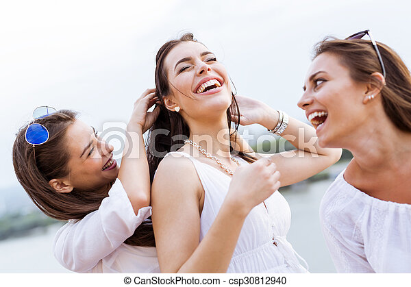 Cheerful women having fun outdoors