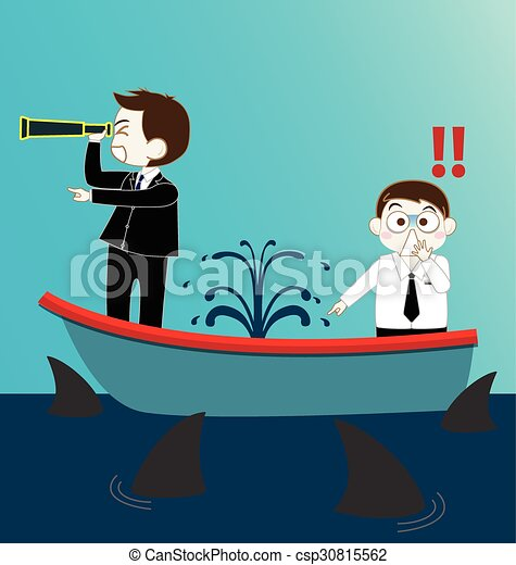 Clip Art Vector of Two Businessman on Leak sinking boat with ...