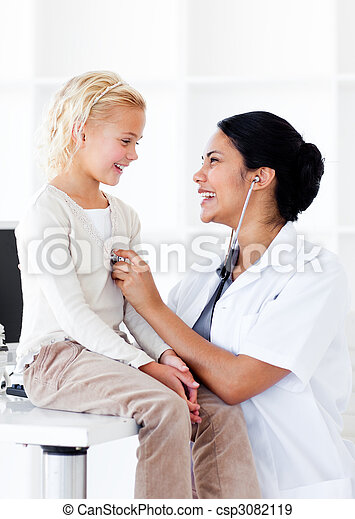 paciente, dela, doutor, verificar, alegre, saúde, femininas - csp3082119