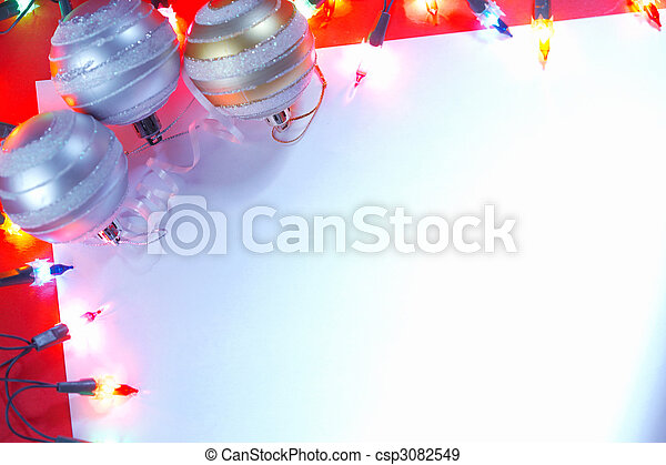 New Christmas baubles border with holiday lights. - csp3082549
