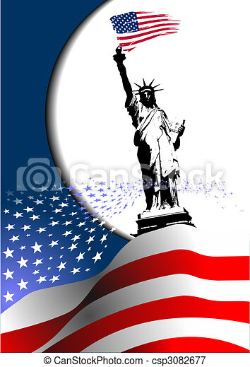 4th July – Independence day of United States of America. American flag with eagle image. Vector - csp3082677