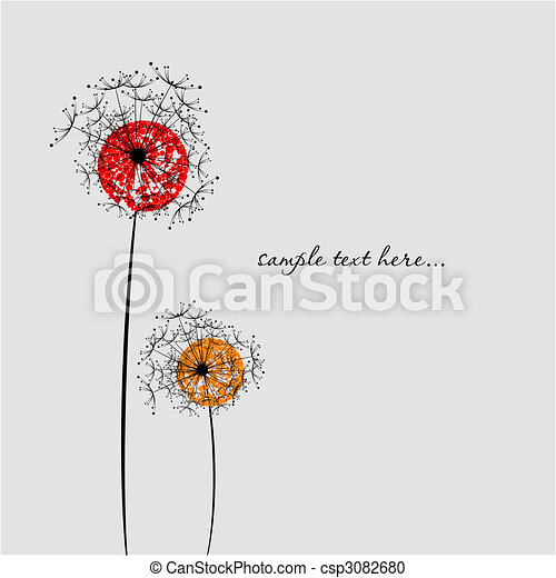 Valentine`s day background with dandelion image. Vector - csp3082680