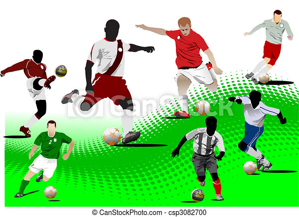 Soccer players. Colored Vector illustration for designers - csp3082700