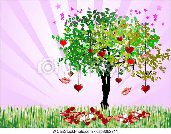 Cover for Valentine`s Day with hearts image. Vector Holiday, wedding,  - csp3082711