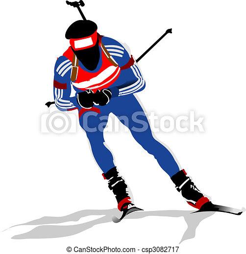 Biathlon runner colored silhouettes. Vector illustration - csp3082717