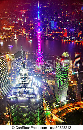 SHANGHAI, CHINA -MAY 24, 2015. Oriental Pearl Tower at the nighttime. Tower 470 meter the Oriental Pearl is one of Shanghai\'s tallest buildings, located at Lujiazui finance and trade zone in Pudong district in most dynamic city of China.