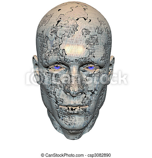 huvud, män, Cybernetiska - csp3082890