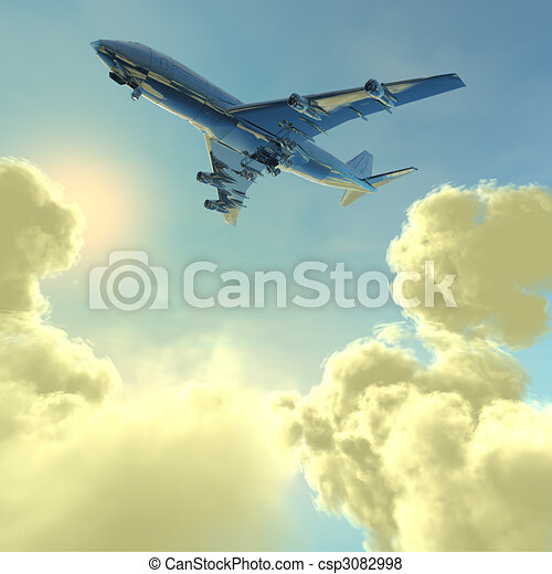 airliner with a clouds - csp3082998
