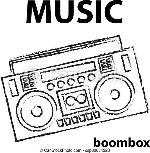 Vector Clip Art of Eighties Boombox Vector illustration ...