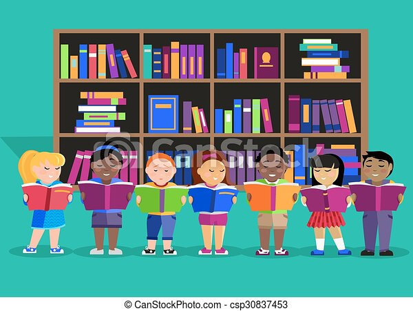 Clipart Vector of Other Children Read Books in Library - Other ...