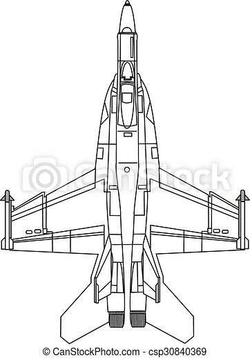 Clip Art Vector of F22 Fighter Jet - top view of fighter jet, line ...