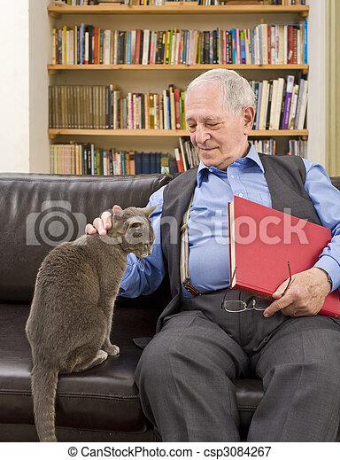 senior man and cat - csp3084267