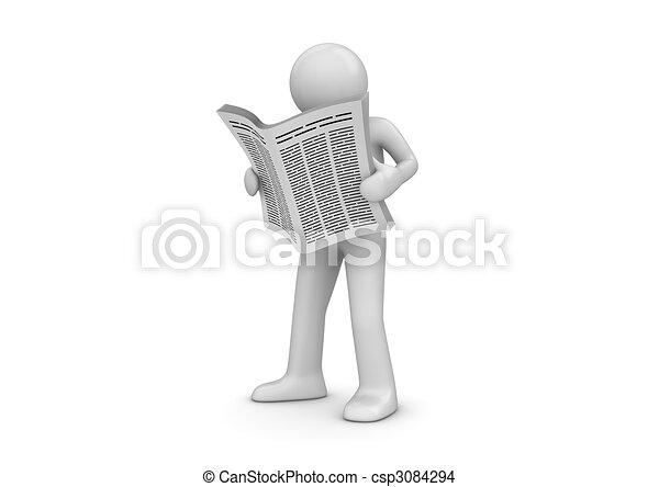 News, man with newspaper - csp3084294