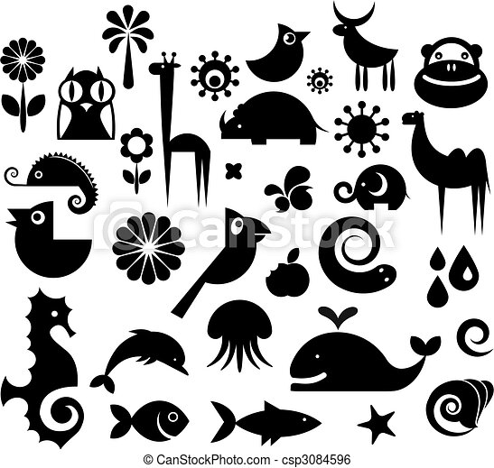 Clip Art Vector of Collection of nature icons - A set of black and ...