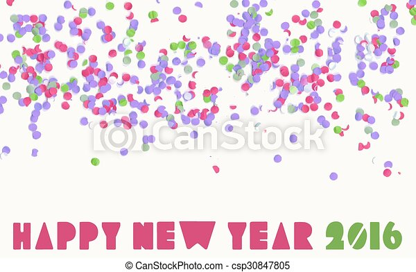 Vector Clipart of Happy new year 2016 confetti party holiday ...